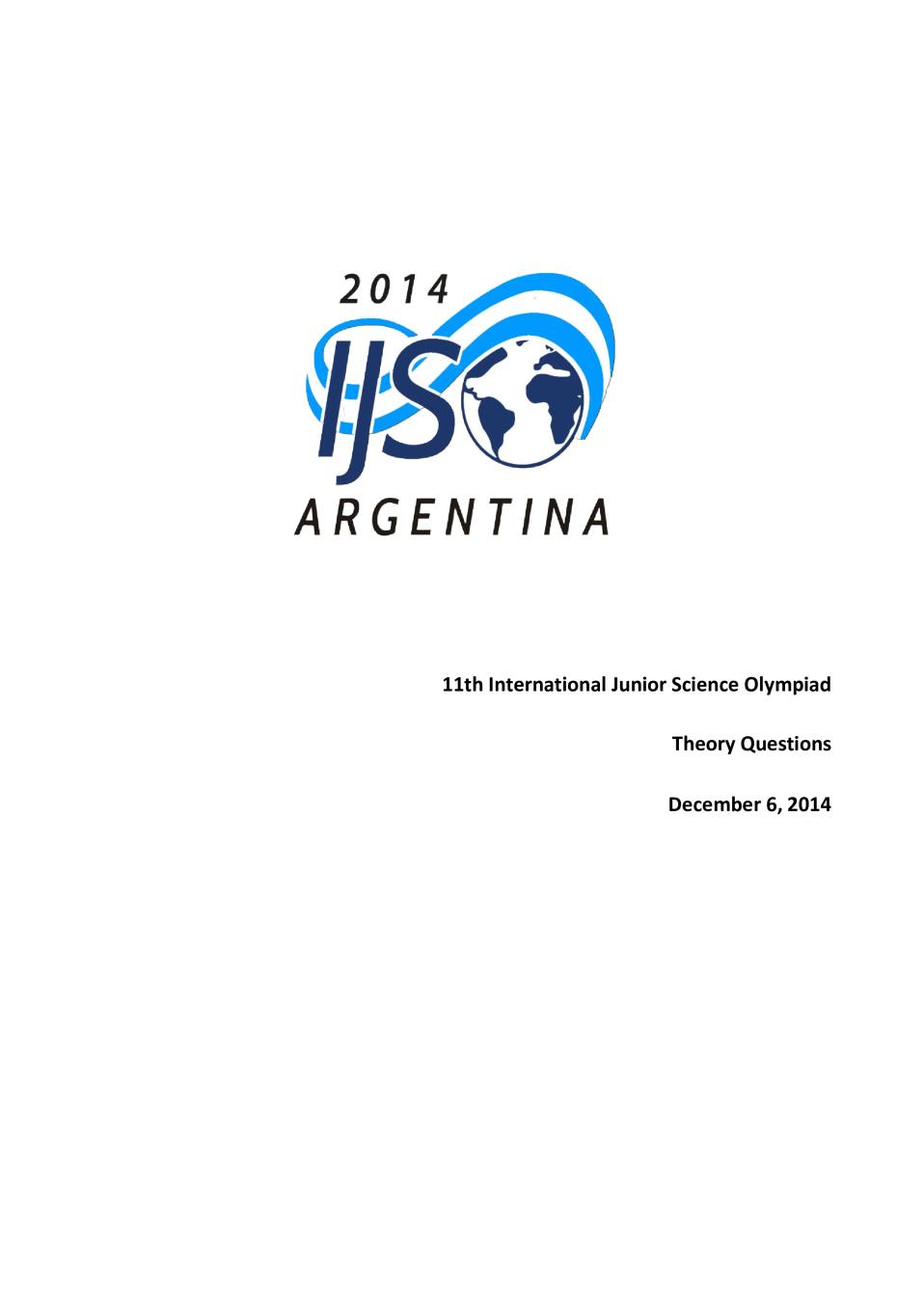 IJSO 2014 THEORY Question Paper, Answer Sheet and