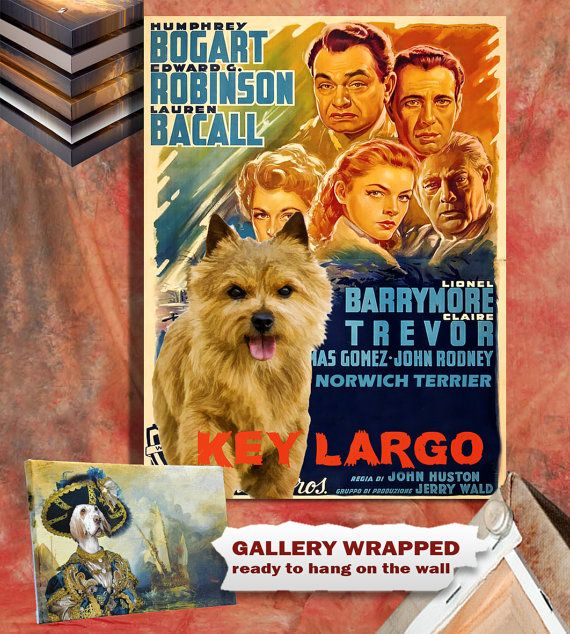 Norwich Terrier Vintage Canvas Print Key Largo by