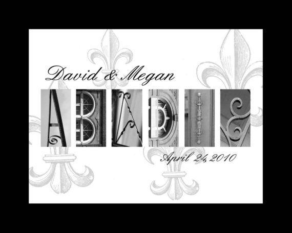 16 x 20 matted fleur de lis Personalized Wedding Name print Alphabet