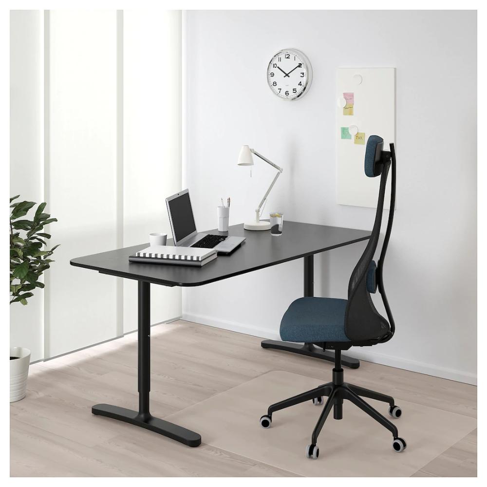 Bekant Desk Black Stained Ash Veneer Black 63x31 1 2 Ikea Bekant White Desks Small Home Offices