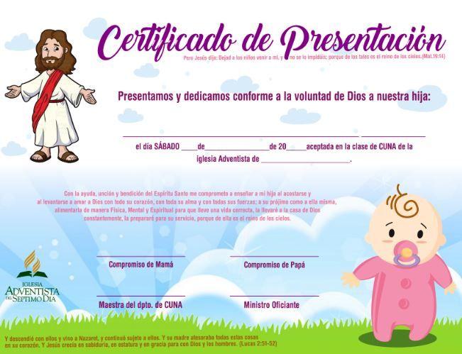 a5e9da99f certificado niña ministerio infantil iglesia adventista