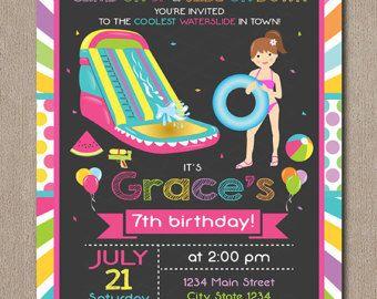water slide birthday invitation water