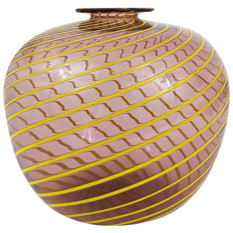 Big Purple Murano Swirl Vase With Yellow Stripes Italy 1950s