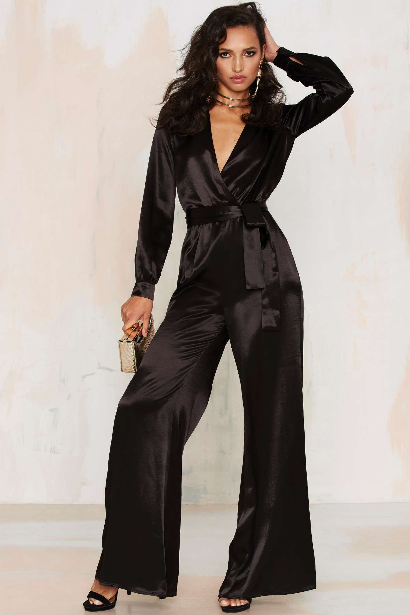 669c52b64eb3 After Party Vintage Love the Nightlife Plunging Jumpsuit