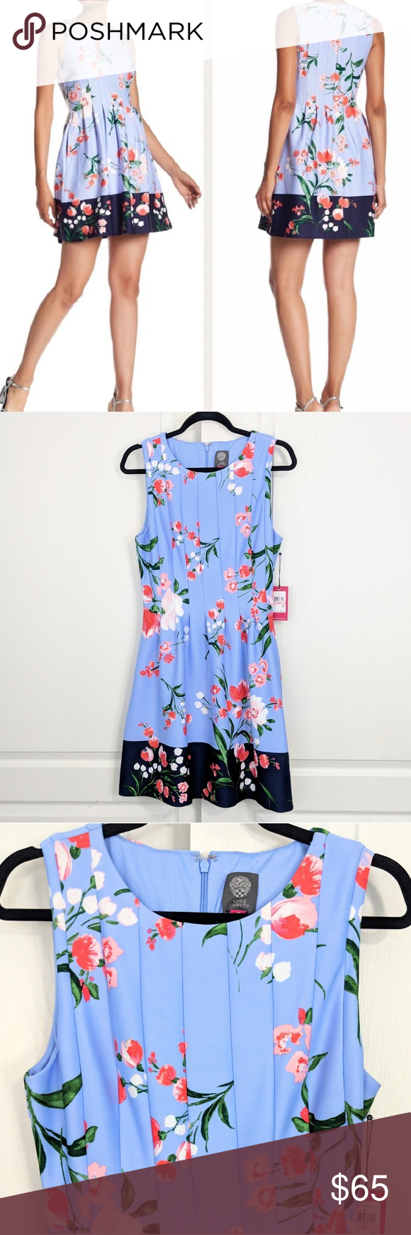 Nwt Vince Camuto Floral Dress 10 Vince Camuto Floral Dress Floral Blue Dress Floral Dress [ 1740 x 580 Pixel ]