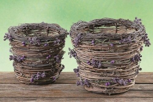 Lavender Set of 5 Wands Fragrant Dried Flowers Woven Into Tiny Basket Satin Ribbon Blue Skies