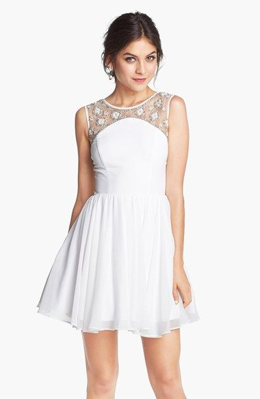 8572972b254 Way-In Embellished Yoke V-Back Fit   Flare Dress (Juniors) (Online Only)  available at  Nordstrom