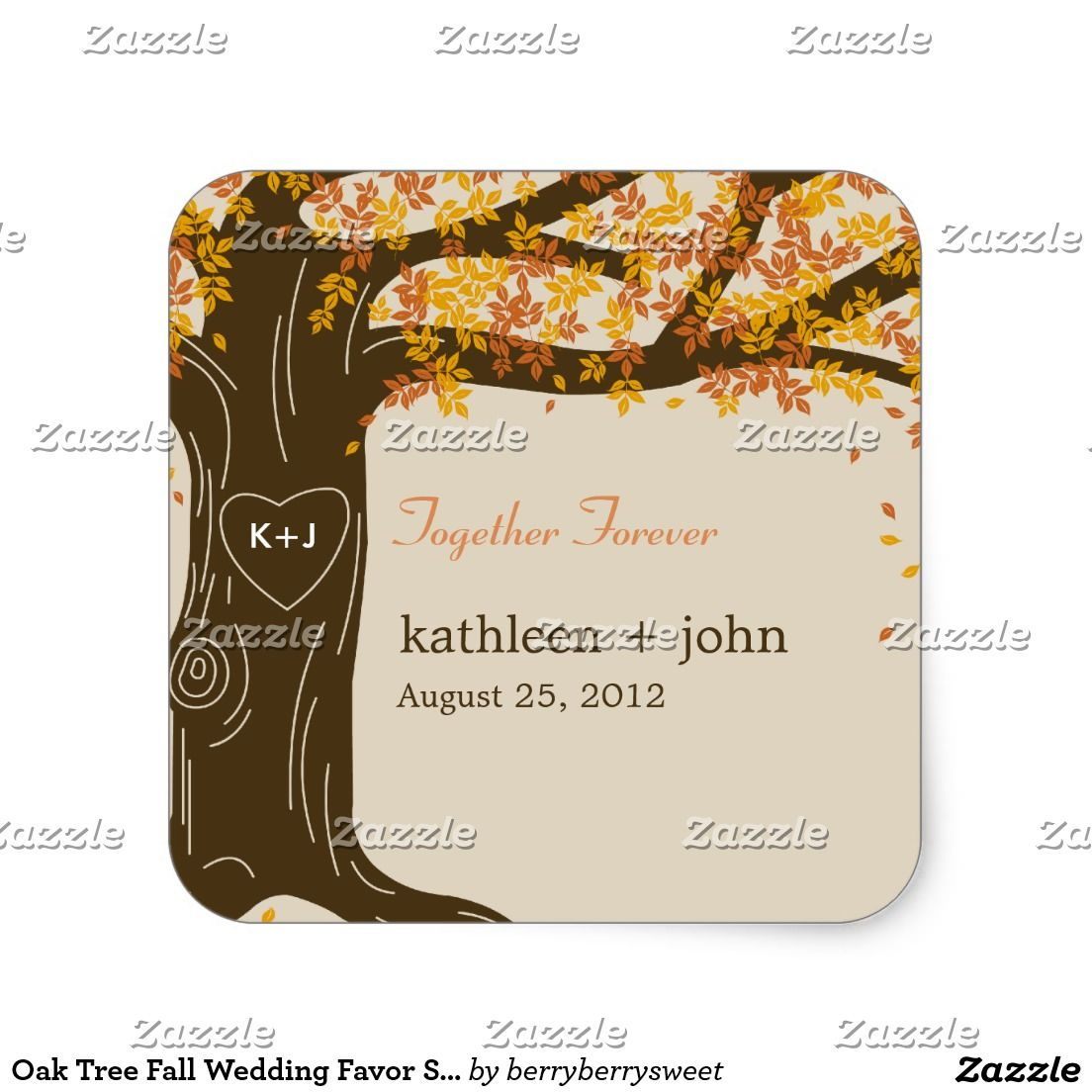 Oak Tree Fall Wedding Favor Sticker | wedding favor stickers ...