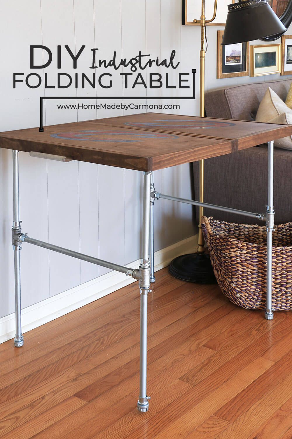 Diy Industrial Folding Table Home Made By Carmona Wood Folding Table Folding Table Diy Diy Living Room Decor