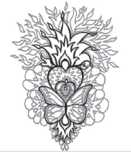 Flaming Heart Counted Cross Stitch Chart