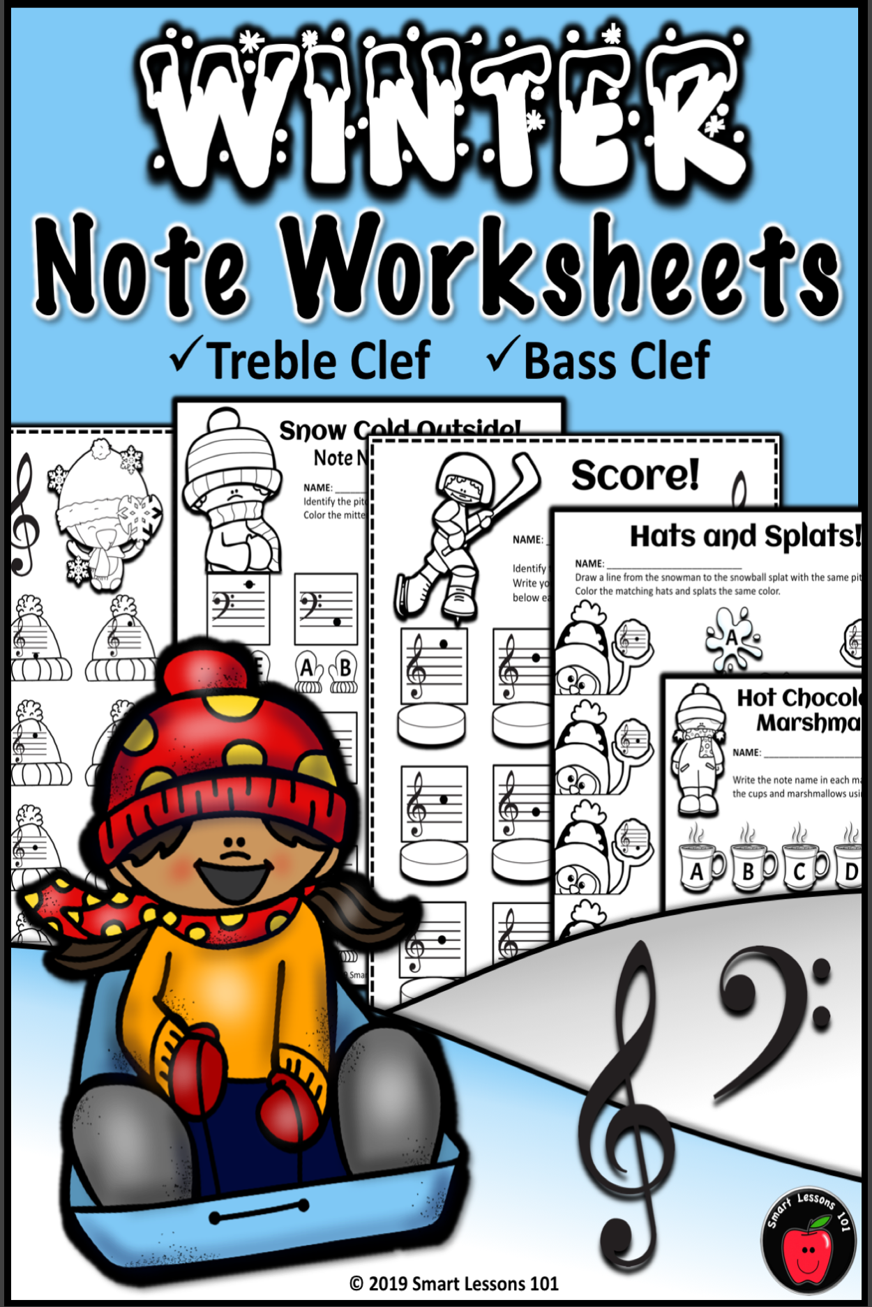 Distance Learning Winter Note Name Worksheets Treble Clef