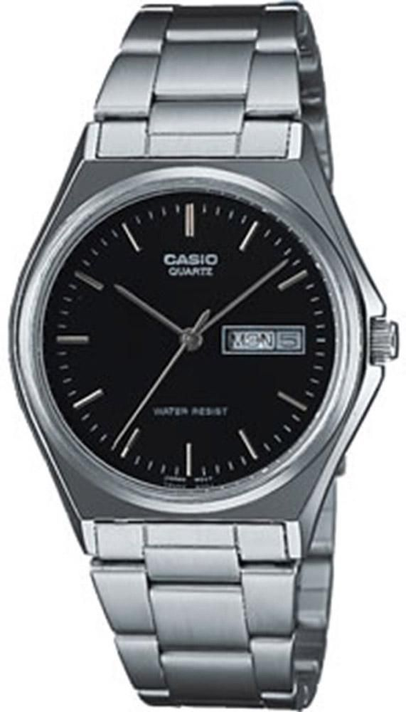 Casio Mens Quartz Quartz Silver Band Black Dial