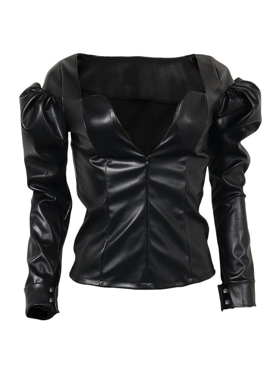 4c481240f2b Black Puff Sleeves Leather Tops | Women Tops in 2019 | Clubwear tops ...