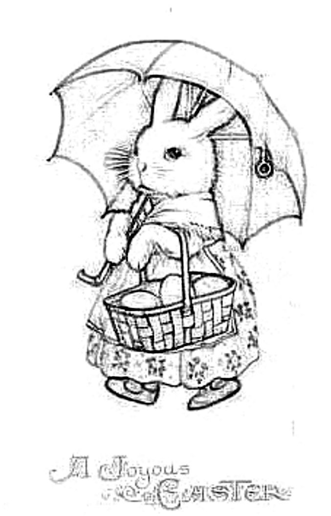 image detail for blog direct open free easter coloring page of vintage easter bunny