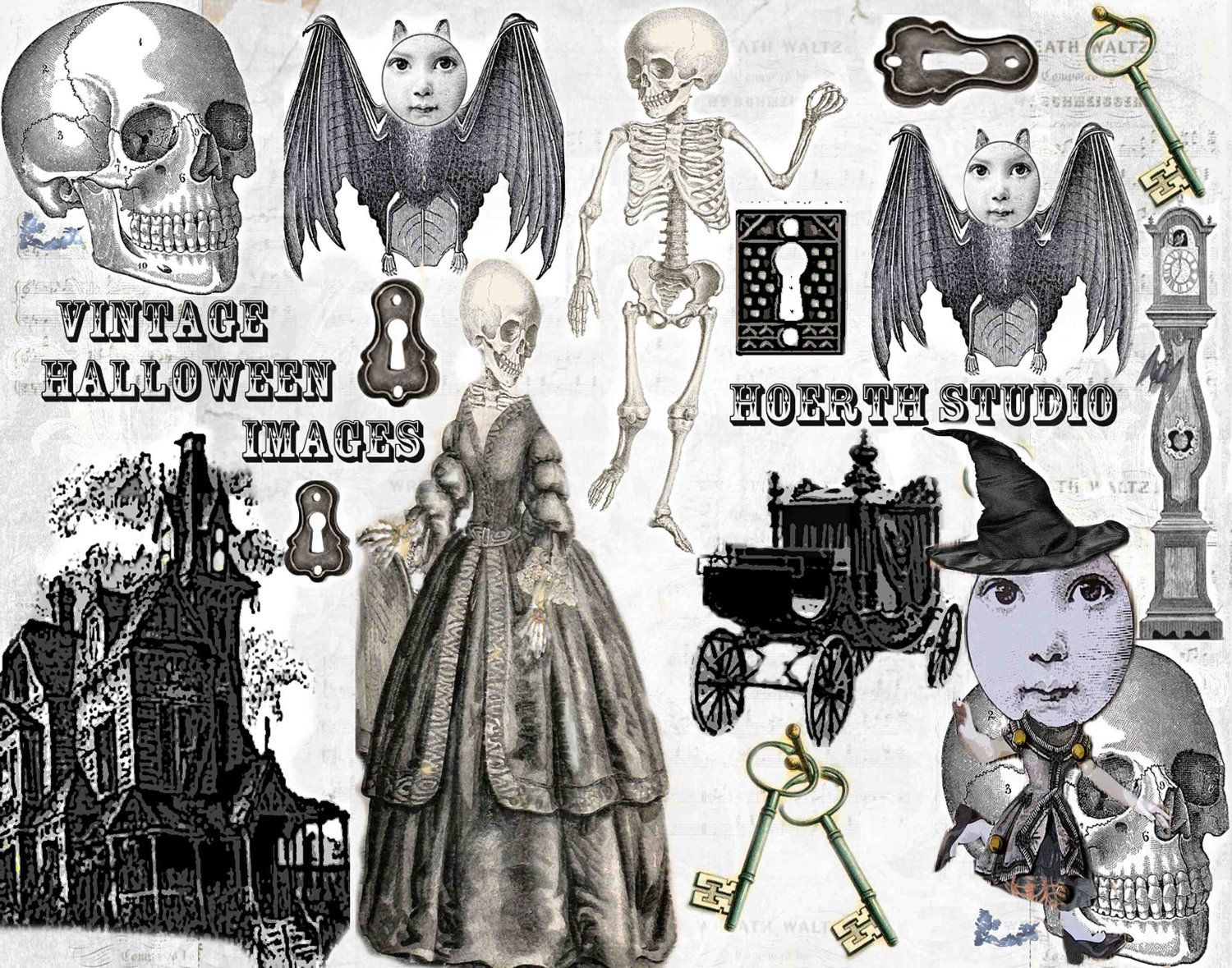 printable halloween steampunk victorian gothic collage sheet instant