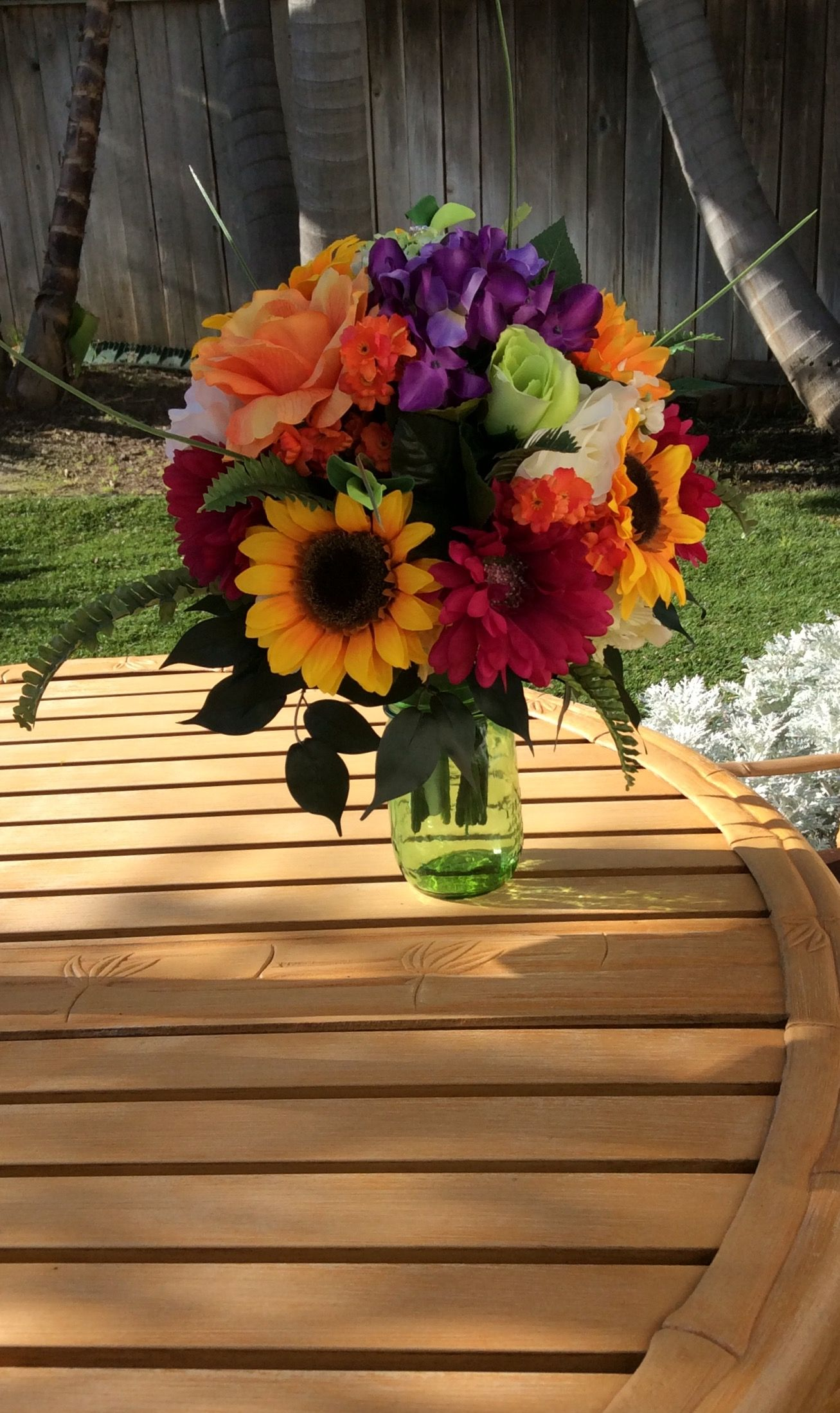 Bright, cheery sunflower bouquet made with bouquet holder and silk ...