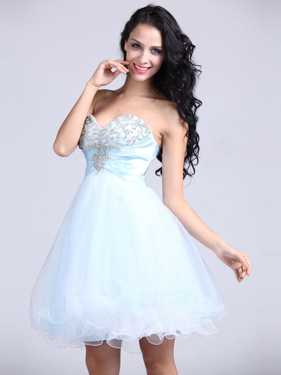 Aline sweetheart tulle shortmini light sky blue appliques