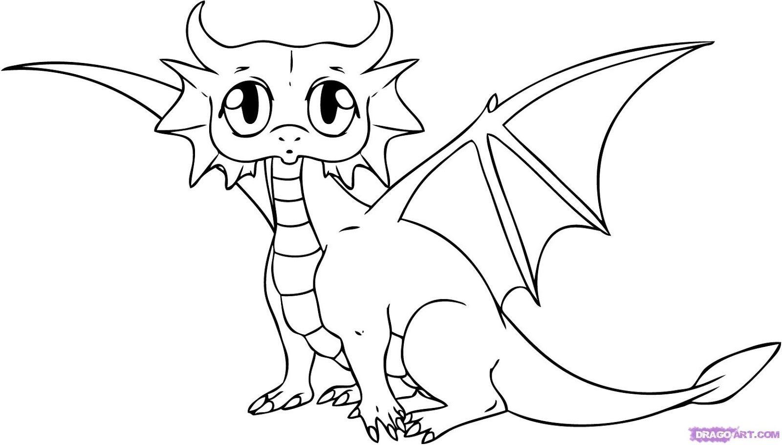 Easy Dragon Drawings Dragon Coloring Page Drawing Cartoon Characters
