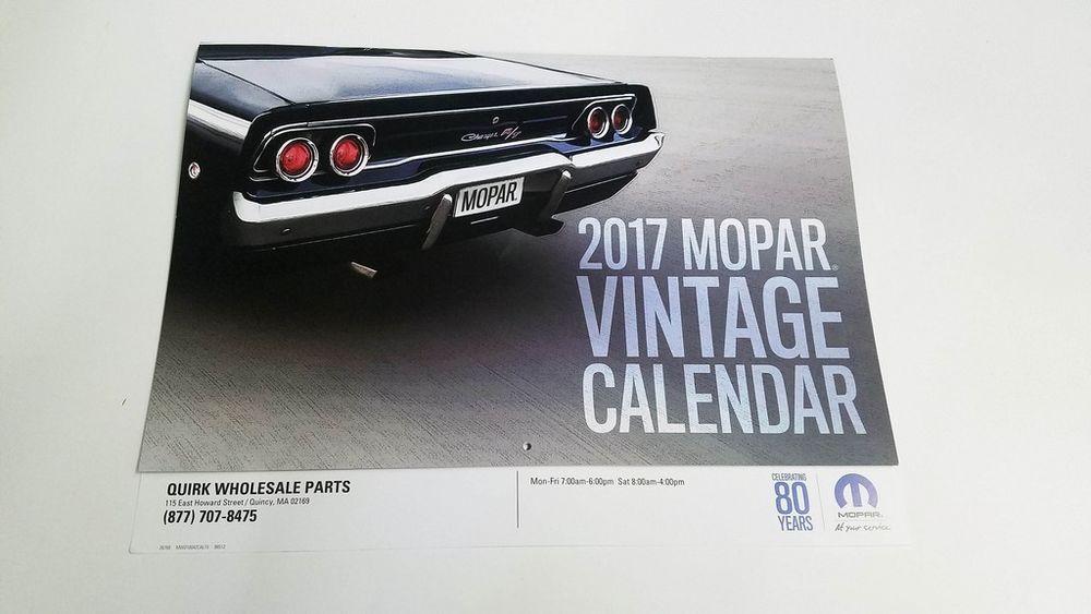 2017 Mopar Vintage Muscle Car Calendar 13 Month Dodge Chrysler