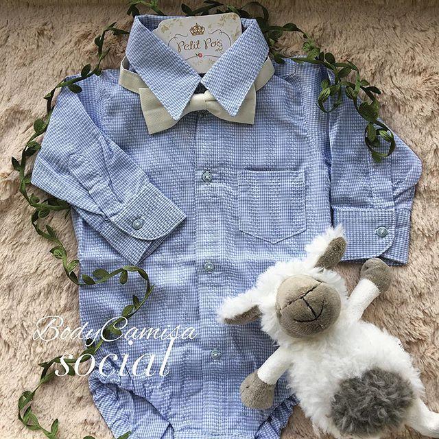 989c0401c6 Body com camisa social texturizada azul bebê!!! Lindíssima para passear com  a vov