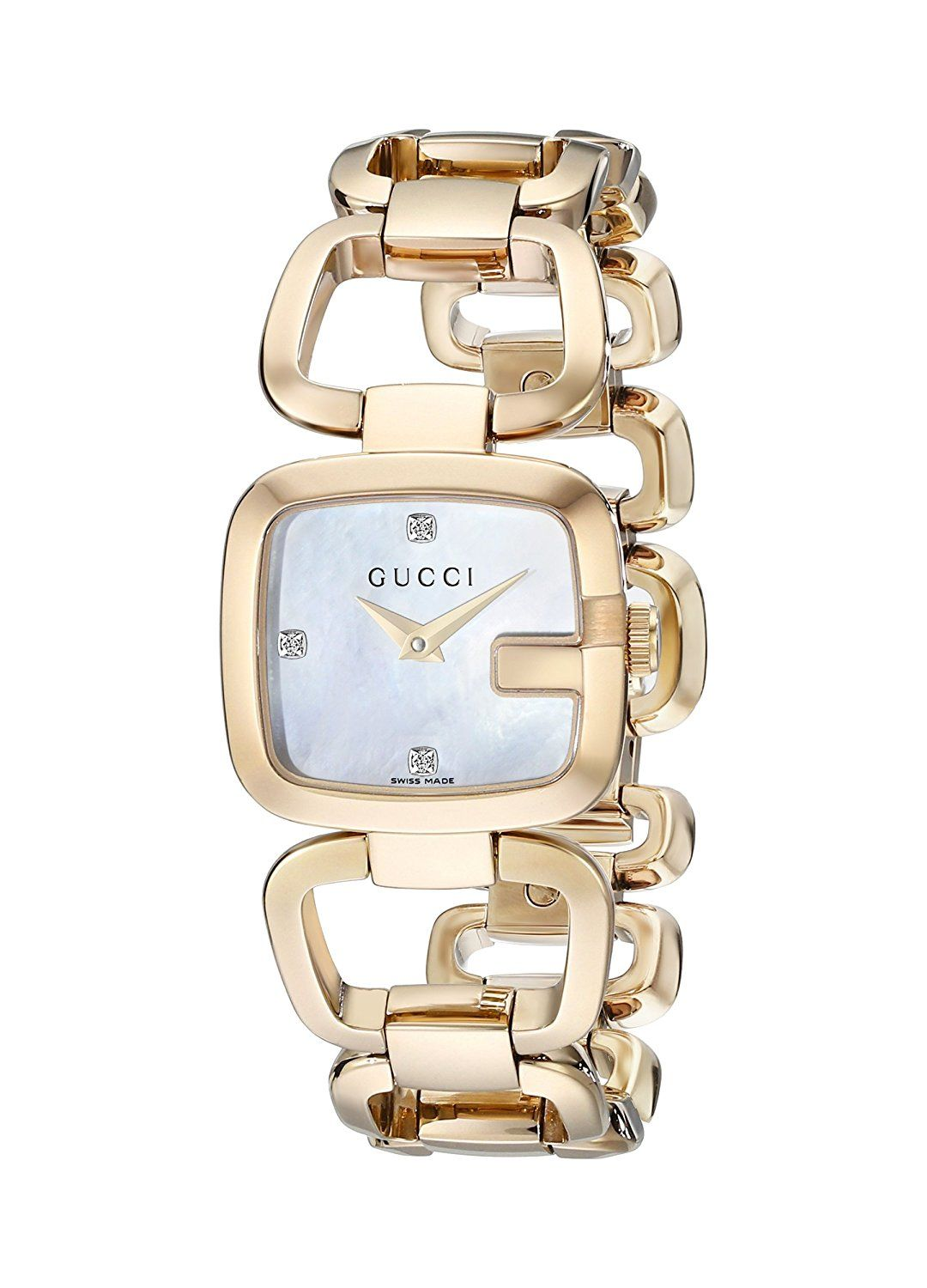 52c134ea2e4 Gucci G-Gucci Collection Women s Quartz Watch with Mother of Pearl Dial  Analogue Display and Yellow gold PVD Case and Bracelet YA125513