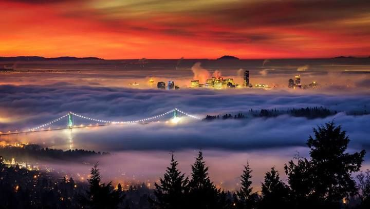 Downtown Vancouver hidden under a beautiful blanket of fog