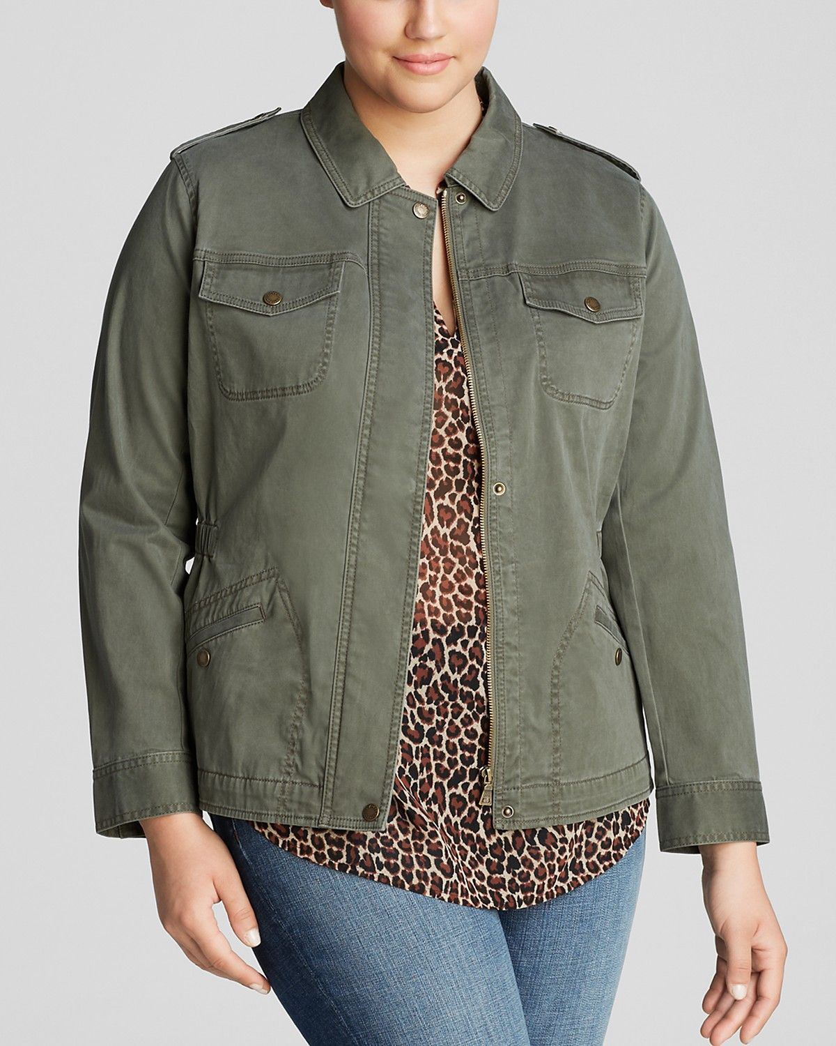 b23a7045ff87a VINCE CAMUTO Plus Size Sateen Green Utility Jacket