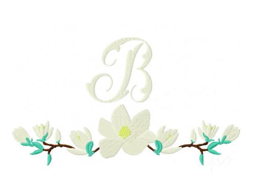 Photo of Magnolia Wreath Embroidery Design Monogram — Herrington Design