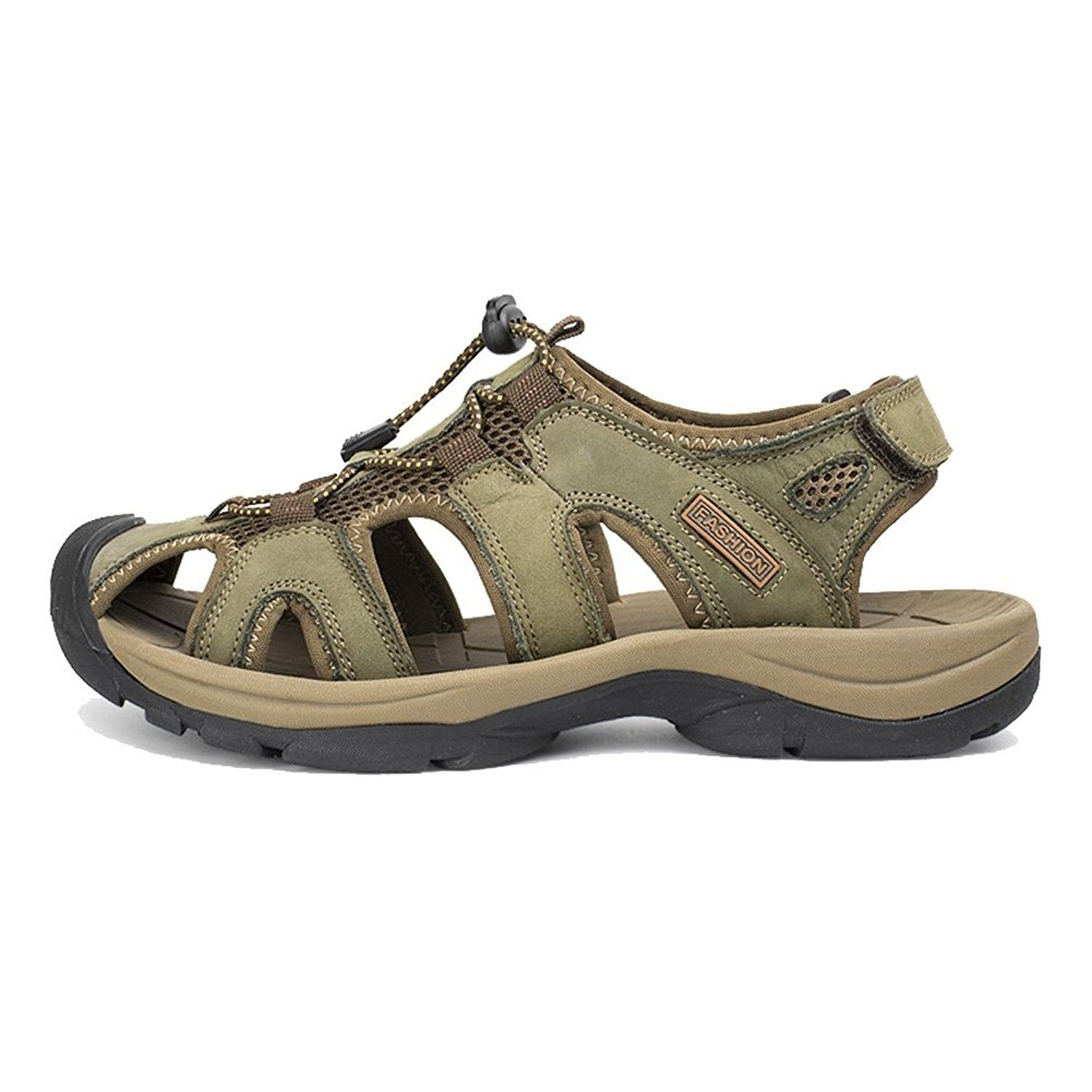Women's Lace Up Hook and Loop Closed Toe Sandals Green
