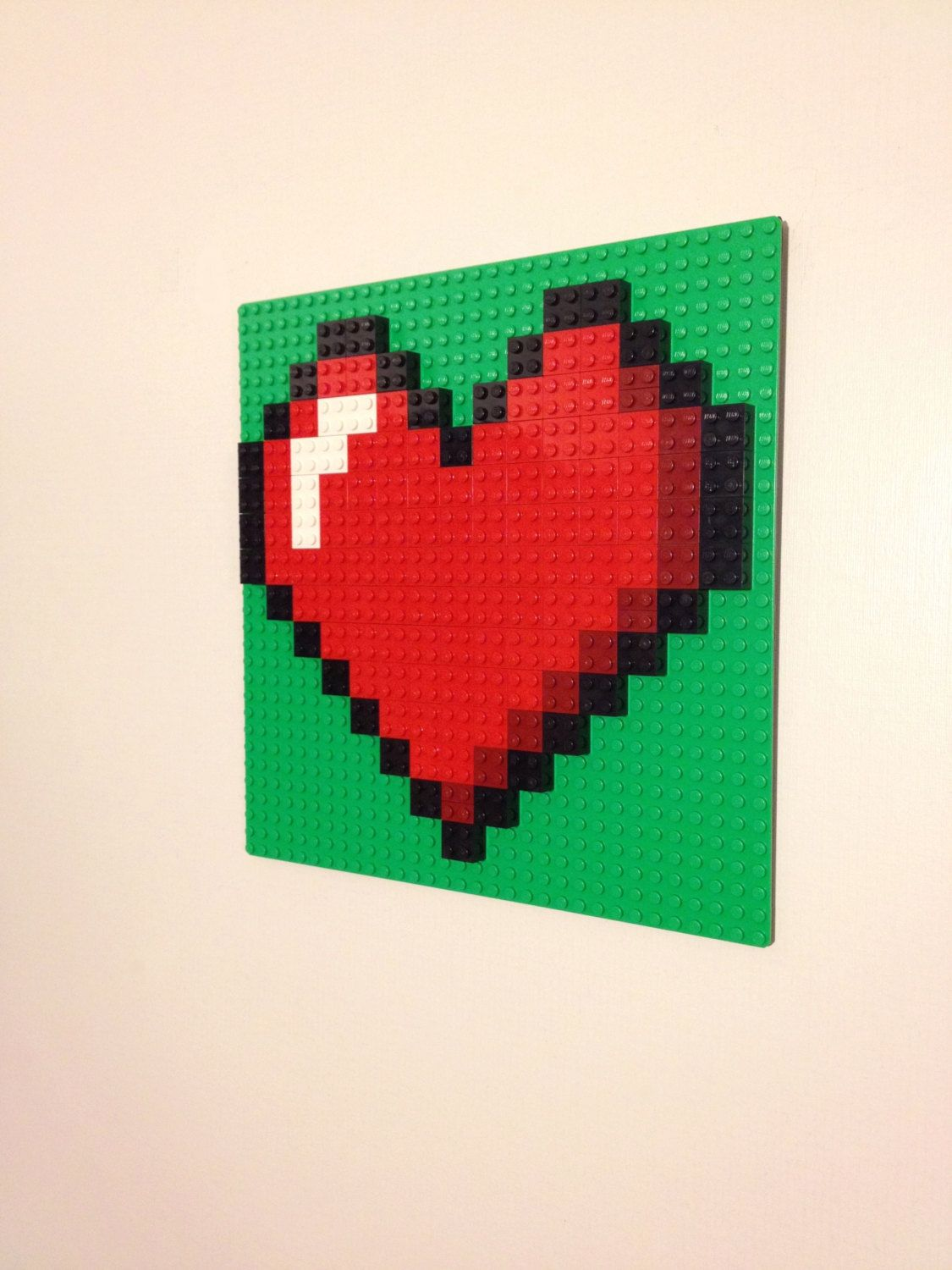 Lego Bedroom Decor Red Or Pink Heart Lego Wall Art Hanging Picture Pixel 8 Bit