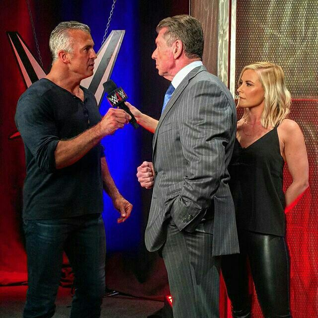 Renee Young interviewing Vince McMahon then Shane McMahon Interrupt them