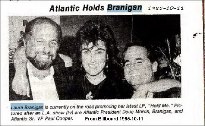 Laura Branigan 1985 Atlantic Records Doug Morris L And Its Vp Paul Cooper 1985 And It Was The Hold Me Tour Laura Is 33yo Not 28