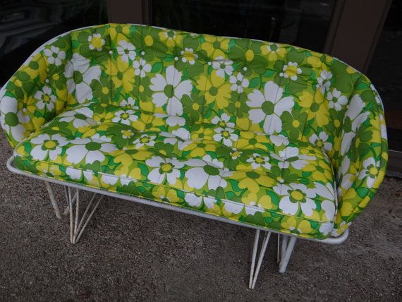 Vintage Mid Century Homecrest Loveseat Glider White Metal Wrought Iron Outdoor With Original Cush Vintage Patio Furniture Vintage Patio Metal Outdoor Furniture