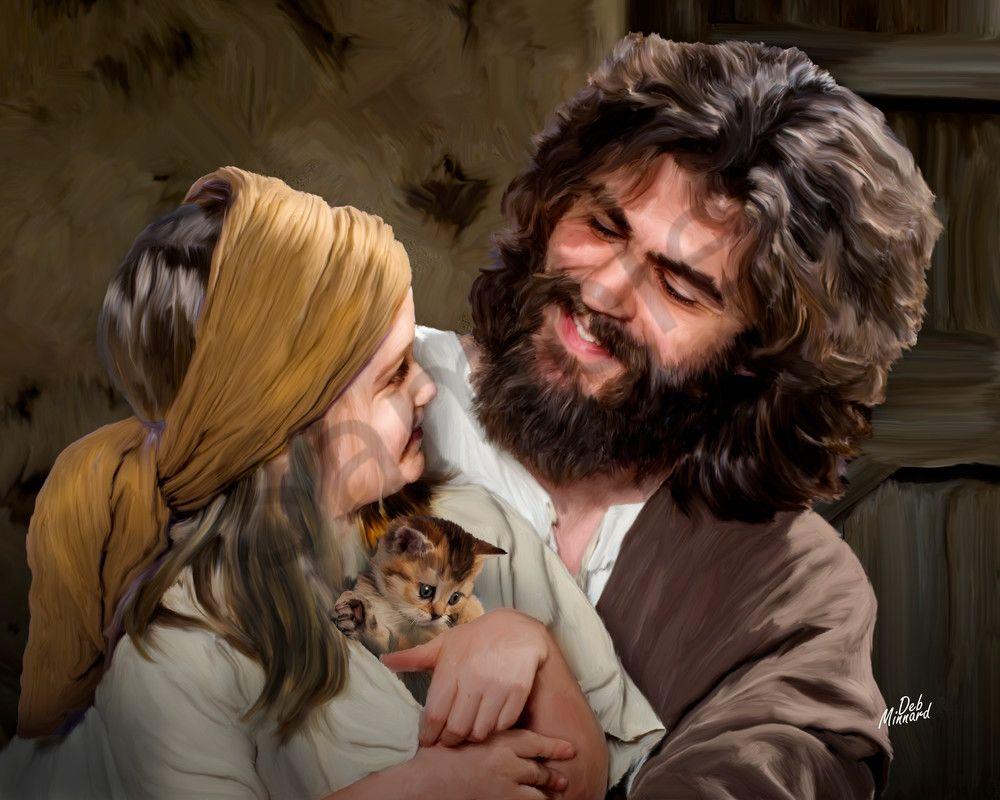 Little Girl With Jesus And Her Kitten Jesus Kitten Art Meaningful Paintings