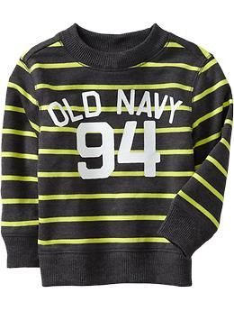 Logo-Striped Crew Sweaters for Baby | Old Navy