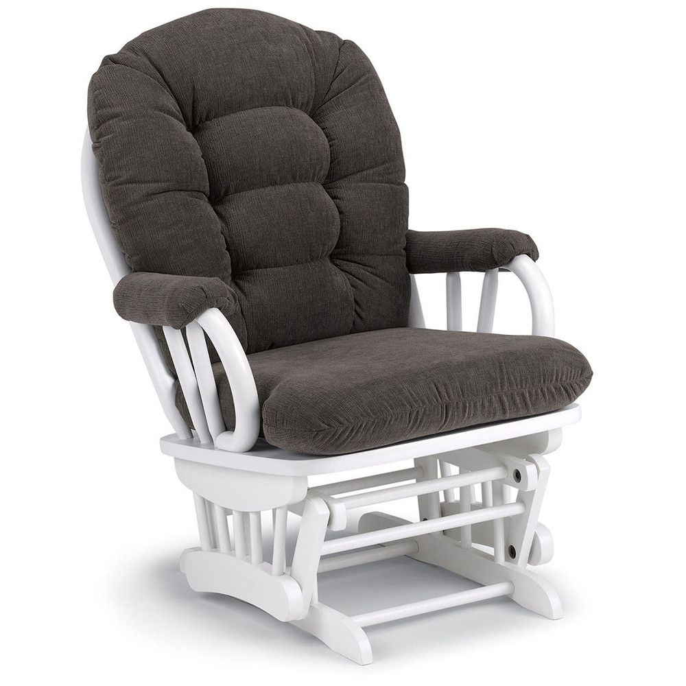 Sensational Best Chairs Geneva White Wood Glider Mocha Chair Cool Pabps2019 Chair Design Images Pabps2019Com