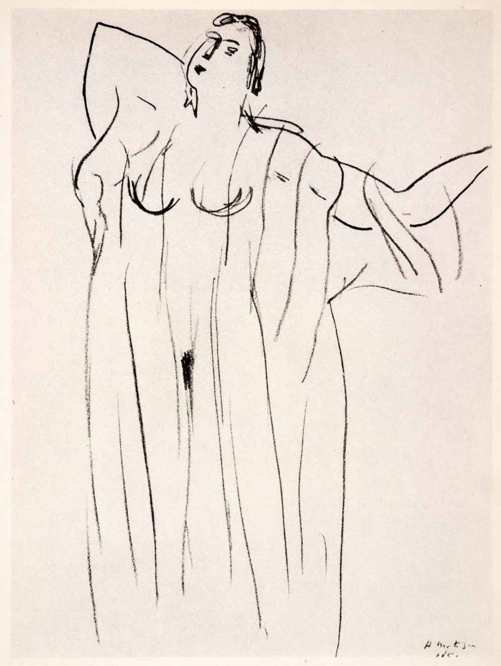 1969 photolithograph henri matisse pencil sketch nude woman lingerie modern xdb7 matisse drawing matisse art