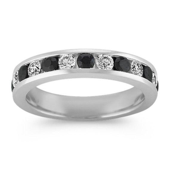 Black Sapphire And Diamond Wedding Band Diamond Half Eternity Band Diamond Wedding Bands Black Sapphire Ring