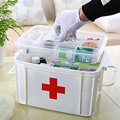 Shrxy Double Layer Medical Box First Aid Kit Portable Household Multifunctional Container With Pill Organ Medication Storage Medicine Storage Diy First Aid Kit