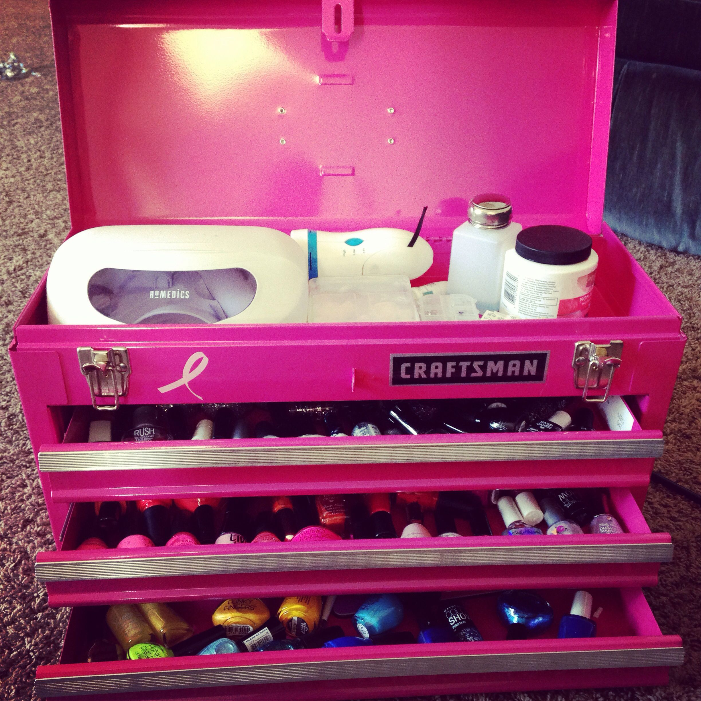 My toolbox nail art set up. Put my tools in a Walmart back so I ...