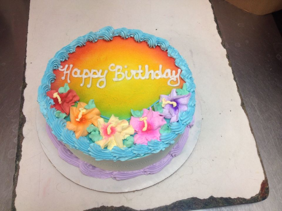 Terrific Tropical Flower Dq Cake With Images Sheet Cake Designs Cake Personalised Birthday Cards Bromeletsinfo