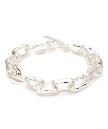 Another great find on #zulily! Sterling Silver Square-Link Bracelet #zulilyfinds