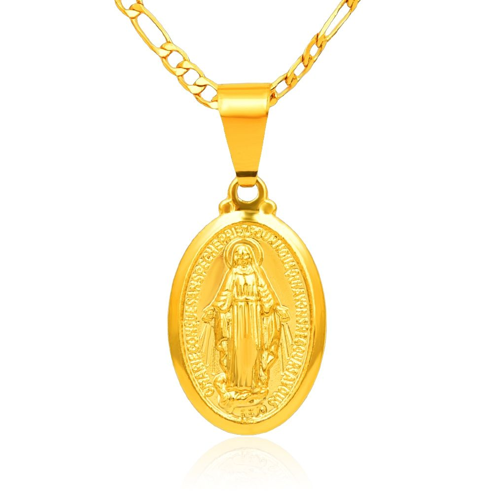Jewelry Chain Gold Plated Catholic Religious Virgin Mary Pendant Necklace Trendy