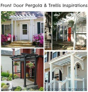 Pergola Over Front Door Inspirations, Trellis, Front Porch.  Amandarappdesign.com