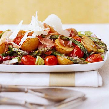 Roasted Vegetable Salad              Your guests will love this hearty salad featuring pan-roasted potatoes and asparagus topped with prosciutto and Asiago cheese