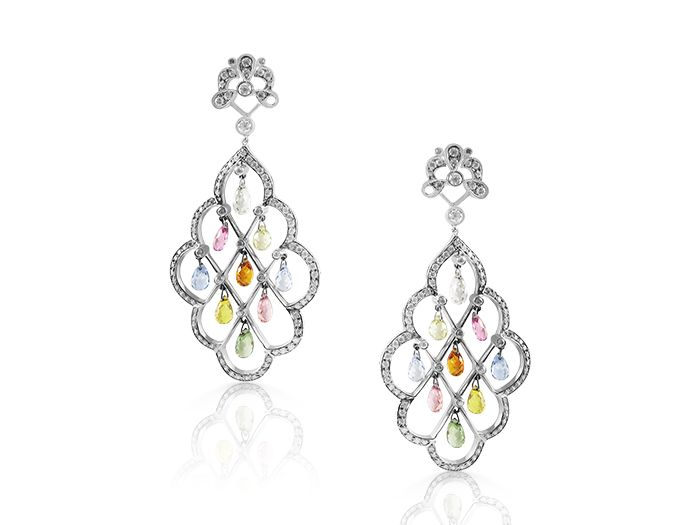 Alson estate collection 18k white gold chandelier earrings alson estate collection 18k white gold chandelier earrings featuring 182 round diamonds 232cts aloadofball Images