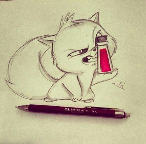 Cute Drawing Ideas: Cat, Drawing, And Art Image