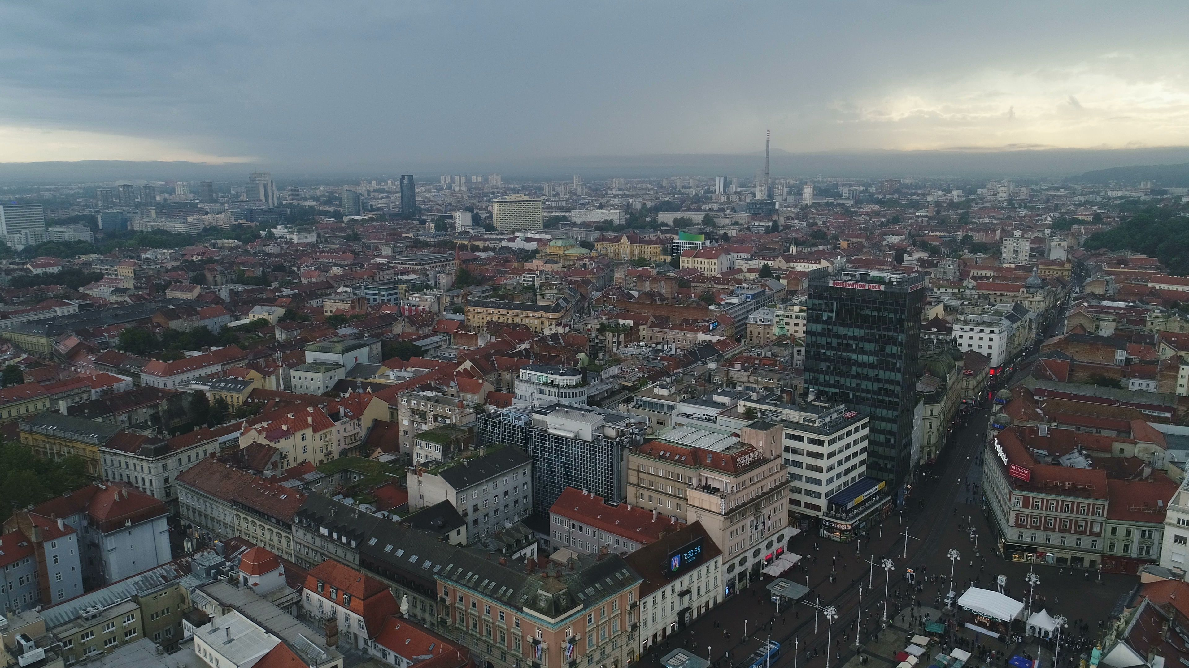 Panoramic Drone Flight Over Central Zagreb Threatening Rain Clouds Croatia Stock Footage Central Zagreb Flight Panoramic Zagreb Panoramic Airplane View