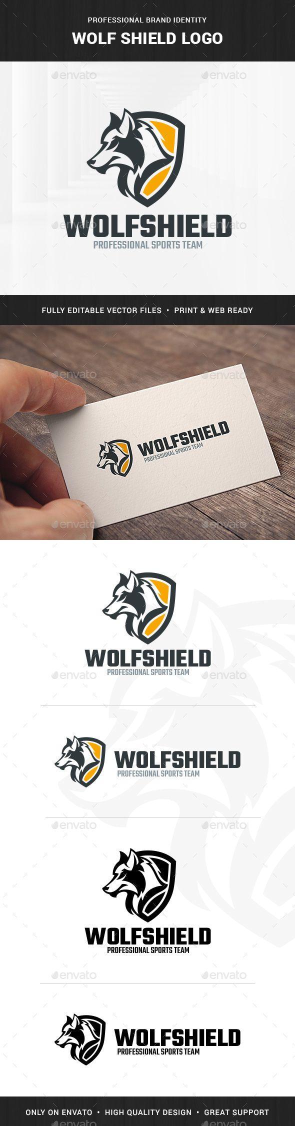 Wolf Shield Logo Template | Shield logo, Logo templates and Wolf