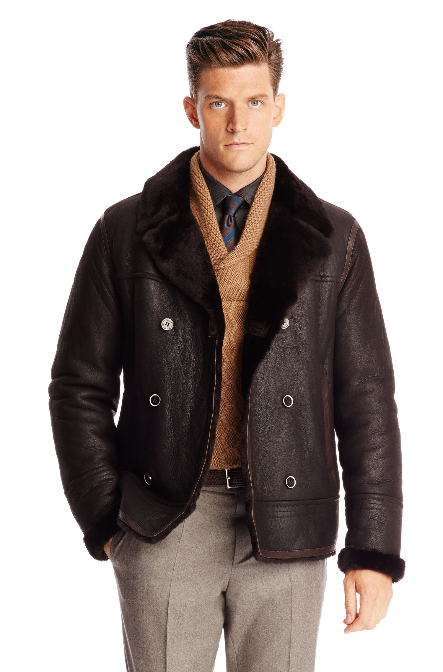 BOSS 'TCurton' Lambskin Leather and Fur Bomber Jacket